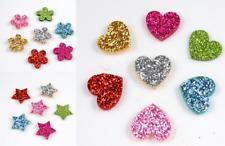 20pcs Glitter Felt backed Star, Flower or Heart Appliques Craft Child decor 20mm