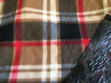 Picnic Blanket Fleece Fabric Material - BEIGE TARTAN