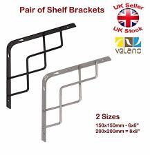 2x Decorativo Soporte para estante Metal zigzag Soporte Negro o plata 2 Tamaños