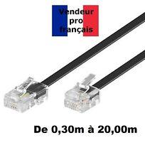 DITM® Cordon Téléphone ADSL RJ11 mâle / RJ 45 mâle - Noir - de 0,30 m à 20,00m