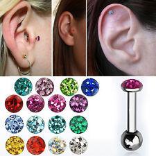"16g 1/4""-5/16"" Resin Ferido Crystal Top Steel Tragus Cartilage Ear Stud 3mm Ball"