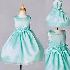 Mint Organza & Satin Girls Dress Toddler Infant Flower Girl Bridesmaid Easter#35