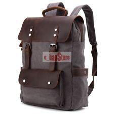 Vintage Men's Canvas + Genuine Leather Backpack School Laptop Book Bag Rucksack