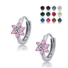 Birthstone Gemstone Flower Children's Huggie Earrings Sterling Silver 925 Kid's