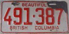 1967 British Columbia Canada 491-387 License Plate