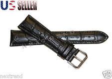 New Quality Black Alligator Grain Genuine Leather Watch Band Strap 10mm~28mm