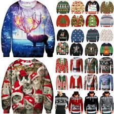Womens Mens Christmas Xmas Ugly Jumper Hoodies Sweatshirt Sweater T-shirts Tops
