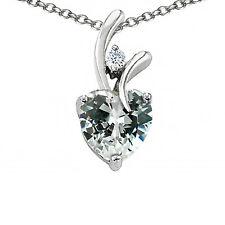 Mujer Elegante 7mm Or 9MM Safiro Blanco Forma de Corazón Colgante 14K Oro Macizo
