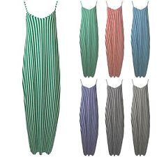 Womens Ladies Camisole Stripes Strappy Lagenlook Italian Drape Baggy Maxi Dress