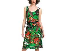 DESIGUAL HELLO DRESS S-XXL 10-18 RRP£69 GREEN & BLACK TROPICAL FLOWERS JERSEY