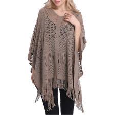 Fashion Women Long Knitted Tassel Edge Sweater Poncho Cape Scarf Shawl Wrap New
