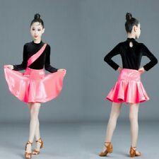 Girls Latin Dancewear Set Velvet Competition Dancing Costume Skirt Leotard