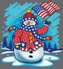Snowman & American Flag Shirt, Christmas Shirt, X-Mas, Holiday Cheer, Sm - 5X