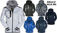 giacca uomo soft shell giubbino anti vento impermeabile traspirante FINO 62 64
