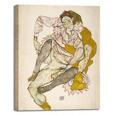 Schiele coppia seduta design quadro stampa tela dipinto telaio arredo casa