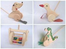 Juguete de madera a lo largo de empuje Eco Friendly Pato, Dragon, Perro, regalo de cortadora de césped