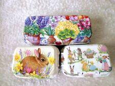Easter/spring colorful egg boxes set of 3 storage handmade decoupage vintage