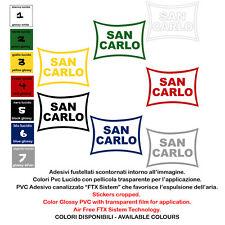 adesivi vinile prespaziato moto SAN CARLO sticker sponsor helmet 2 pz. cm 10