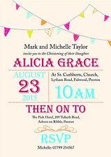 PERSONALISED CHRISTENING/BAPTISM PARTY INVITES Bunting Cream Unisex Invitations