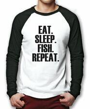 Eat Sleep Fish Repeat Baseball Top Fisherman Gift Base Ball Tee Mens Shirt