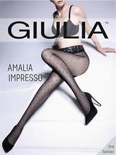 Giulia Amalia impresso Spot Polka Dot Estampado Medias 40 Denier transparente a la cintura