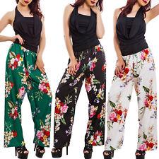 Overall donna scollo cascata pantaloni palazzo floreale elegante sexy VB-16117