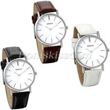 Womens Simple Fashion Scale Metal Case Leather Straps Quartz Wrist Watch Watches