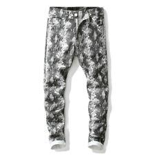 Men Straight Snakeskin Printed Trousers Skinny Nightclub Pants Slim Fit Bottoms
