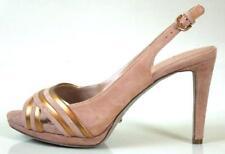 new $840 SERGIO ROSSI beige/bronze suede slingbacks peep-toe shoes NUDE