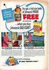 1951 Johnson's Pride & Glo-Coat Floor & Furniture Wax Print Ad