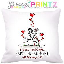 ❤PERSONALISED ENGAGEMENT GIFT CUSHION VALENTINES WEDDING ANNIVERSARY KEEPSAKE❤
