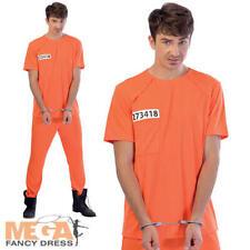 Prisoner Mens Fancy Dress Orange Prison Inmate Convit Uniform Adults Costume