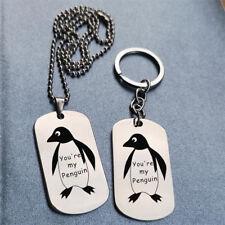 Personalised blue bead heart penguin keyring handbag charm gift pouch BD1LT49