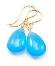 Sky Blue Chalcedony Earrings Smooth Pear Teardrops 14k Gold Sterling Silver Drop
