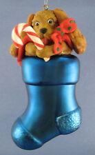 Stocking Puppy Dog Dept 56 Glass Christmas Ornament Spaniel Candy Cane Tag Santa