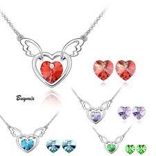 Crystal Heart Wings Jewellery Set Stud Earrings Necklace Pendant Women Girl Gift