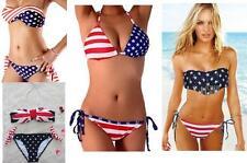 British American Union Jack USA UK Flag Swimsuit Boho Fringe Swimwear Bra Bikini