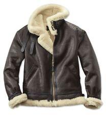 B3 Aviator Real Shearling Brown Sheepskin Leather Flight Bomber Jacket