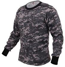 Subdued Urban Digital Camo Long Sleeve Cotton T-Shirt - Black & Gray Camouflage