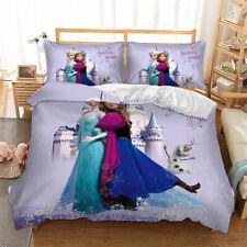 Disney Frozen Anna Elsa 100/% Cotton Twin Full Quilt Duvet Cover Bedding Set Blue