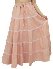 Bimba Women's Long Peach Flared Cotton Skirt Elastic Waist Wear Clothing