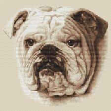 "Bulldog Cross Stitch Design (Sepia,10""x10"",25x25cm,kit or chart)"