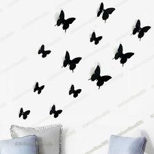 3d Mariposa pegatinas de pared Negro 12pcs Pvc Arte calcomanía casa de bricolaje decoración de papel