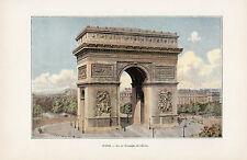 75 PARIS ARC DE TRIOMPHE PLACE DE L ETOILE IMAGE COULEUR 1902