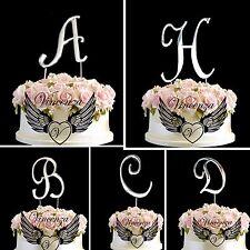 Metallic Silver Birthday Anniversary Cake Topper Letter Symbol Pick And Shiny