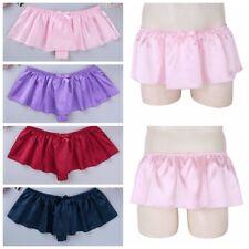 Men's Sissy G-string Thong Underwear Silky Satin Skirted Panties Girlie Knickers