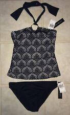 NEW Womens 8 LA BLANCA Crochet Bandini 2pc Tankini Swim Suit Black White Halter