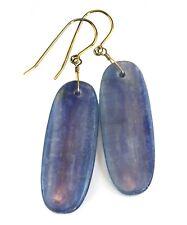"""Kyanite Earrings Blue Large Long Drop 14k Gold Simple Natural Sterling Silver 2"""""""