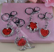 Flower o Corazón Teléfono Star Red Rose /& Apple Bolso De Mano Llavero Cristales bisutería