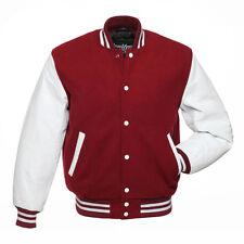 Stewart & Strauss Cardinal Wool & White Leather Varsity Letterman School Jacket